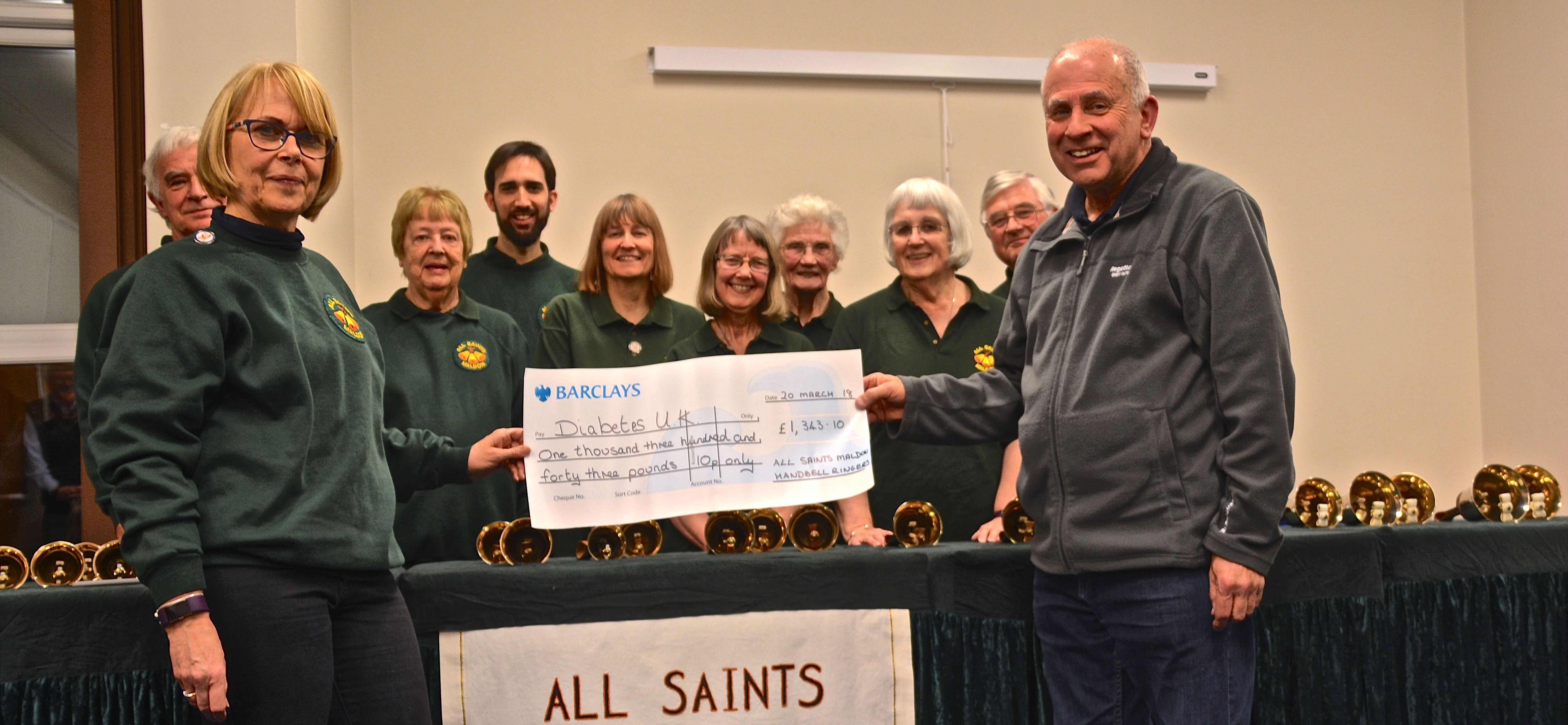 Maldon All Saints Bellringers donate £1,343.10 to our group