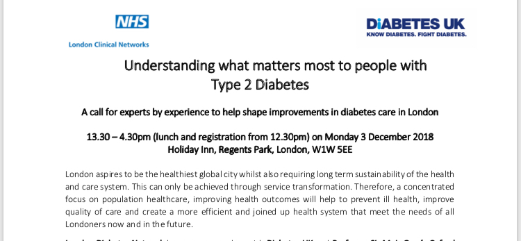Workshops for people in London with diabetes