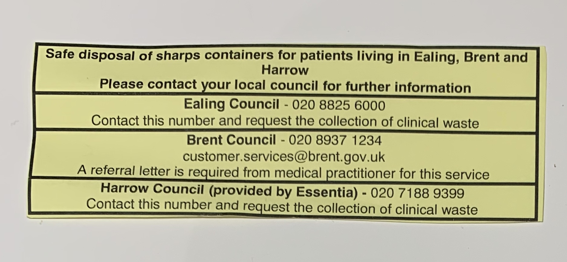 Sharps disposal in NW London