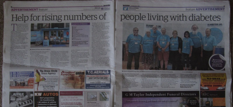 Double page in the Ipswich Star